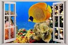 Tropical Fish 3D Window View Decal WALL STICKER Art Mural Ocean Animals Corals