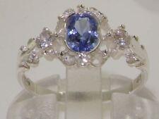 Solid 925 Sterling Silver Ladies Tanzanite & Diamond Ring