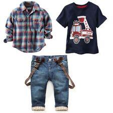 3PCS Baby Boys Shirt Tops + T-Shirt + Suspender Jeans Set Kids Clothes Outfits