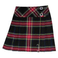 Scottish Ladies Mini Black Stewart Tartan Kilt/Women Skirt 16'' long + Kilt pin