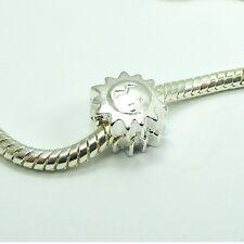 1 Clip LOCK STOPPER Bead CHARM fits European Bracelet ~Sunflower or Love Heart ~