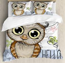 Owls Duvet Cover Set with Pillow Shams Cartoon Butterfly Hello Print