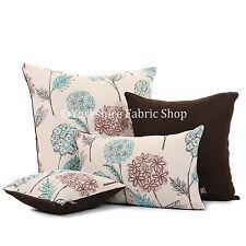 DOUX tissé chenille Sarcelle rose marron Calicot fleurs motif coussin tissu