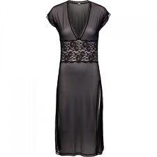 Sapph Damen Nightdress Nachthemd Tüll Spitze transparent schwarz BLACK LACE