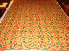 Granny Square Handmade Handcrafted Crochet AFGHAN Throw Blanket ~ gold orange gr