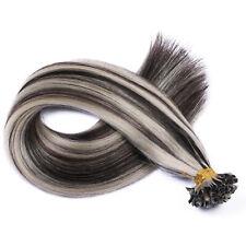 Keratin Bonding (#1b/Grey Gesträhnt) Hair Extensions Echthaar Haarverlängerung