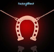 14k Rose Gold Horseshoe Charm Lucky Necklace