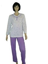 leichter Damen Schlafanzug lange Hose Pyjama Gr. S(36/38)-XXXL (56/58)