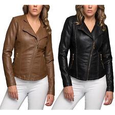KOGMO Women's Double Breasted Faux Leather Biker Short Coat Jacket