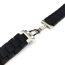 BLACK 23 20mm RUBBER/STEEL Strap Band Bracelet fit Emporio Armani AR5858 AR5868