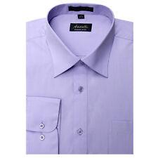 Mens Dress Shirt Plain Lavender Modern Fit Wrinkle-Free Cotton Blend Amanti