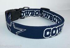 Dallas Cowboys Star NFL Terri's Dog Collar custom made adjustable Navy fabric