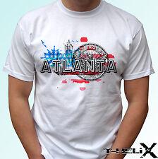 Atlanta City-Blanco T Shirt Top Diseño Bandera de Estados Unidos-para Hombre Mujer Niños y Bebés Tamaños