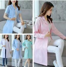 Women Nurse Dress Female Doctor Beautician Lab  Long Coat  Work Clothes 4Colors