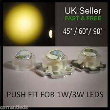 Push-fit Lenses for 1W 3W LEDs 45 and 60 degree angle Aquarium grow light lens