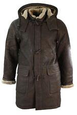 Mens Winter Real Sheepskin Leather Duffle Safari Jacket Tan Brown & Ginger Hood