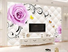 3D Fiori, farfalle 03 Parete Murale Carta da parati immagine sfondo muro stampa
