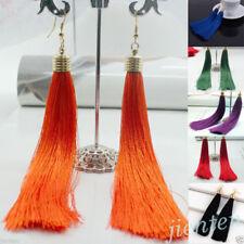Women Bohemian Silk Yarn Earrings Vintage Long Tassel Fringe Boho Dangle Drop