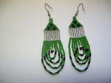 seed beaded earrings looped green / black  /teardrop