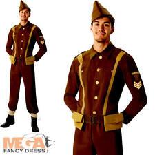WW2 Soldier Mens Fancy Dress World War II 40s Army Officer Uniform Adult Costume