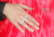 anello doppio dito strass ss29    5 mm COLOR DIAMANTE PL ARGENTO made in italy