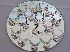 Familia Copa De Vino Charm Corazón de diamantes de imitación 18 los diferentes para elegir encanto