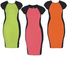 Ladies Plus Size Contrast Illusion Neon Florescent Colours Bodycon Midi 16-24