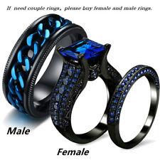 Couple Rings Stainless Steel Mens Spinner Ring Blue Sapphire Womens Ring set