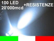 BUSTINA 100 LED BIANCO GHIACCIO 5mm CON RESISTENZE