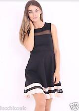 Ladies Womens Paris Hilton Inspired Contrast Mesh Insert Sleeveless Skater Dress