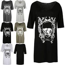 Womens Halloween Rebel Skull Fancy Floral Print Oversized Ladies Baggy PJ Dress