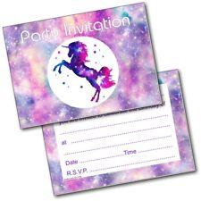 Unicorn Theme Birthday Party Invitations Invites Pack of 20 Girls Kids Childrens