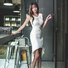 1acf54c1602f Elegante vestito abito donna tubino slim pizzo bianco evento morbido 5031