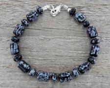 Unisex - Mens Black Bracelet in Polished Snowflake Obsidian