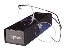 100% Pure Titanium Vintage Round Flexible Rimless Eyeglass Frame Clear Lens Rx