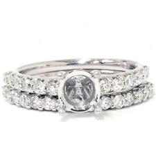 3/4ct Half Eternity Diamond Ring Set Semi Mount Solid 14K White Gold