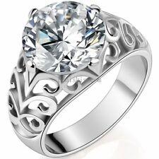 Womens Ladies 6.5 Carat CZ Cubic Zirconia Stainless Steel Wedding Engagment Ring