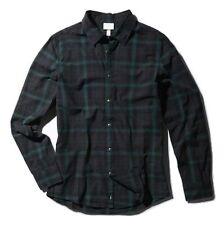 Adidas Para Hombre Camisa de cuadros camisa de mangas largass de etiqueta de neo --- Negro/Verde/Gris