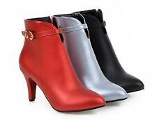stivali stivaletti stiletto scarpe donna 9 rosso argento nero simil pelle 8835