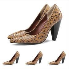 Women Slip On Pointy Toe Block Heel Shoes Elegant Formal Snakeskin Pattern Pumps