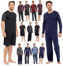 Mens Jersey Cotton Blend Short Long Pyjamas Pj Lounge Set 2 Piece Nightwear Size