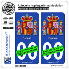 2 Stickers autocollant plaque immatriculation Auto : Espagne - Armoiries