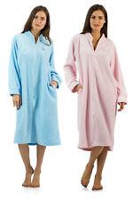 Casual Nights Women's Zip Up Front Long Fleece Robe House Coat Dress