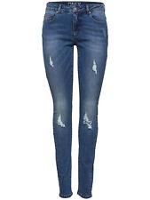 ONLY Damen Skinny Jeans Denim Blue Casual Stretch Damenhose Destoyed-Optik