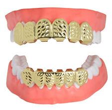 Diamond Cut Custom Fit Grills 14k Gold Plated Top Bottom Hip Hop Teeth Grillz