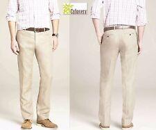 NWT 40X30/38X30/36X30/34X30 Cubavera Linen Herringbone Beige Elastic Waist Pants