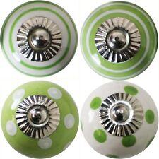 Möbelknöpfe Set, 4 STK Möbelgriffe Keramik Knöpfe Griffe Möbelknopf  Grün Weiß