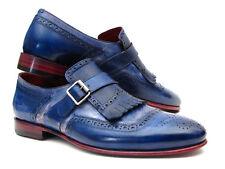 Paul Parkman flecos monkstrap Zapatos de piel azul de tono dual (ID#12BL78)