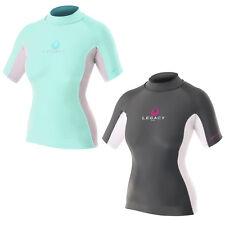 Legacy Ladies Short Sleeve Rash Vest Guard Lycra Womens UV 50+ Protection Surf