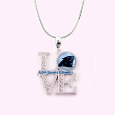 NFL Carolina Panthers 925 Sterling Silver Team Logo Love Necklace W/Rhinestones